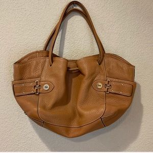 Cole Haan leather tote hobo drawstring bag